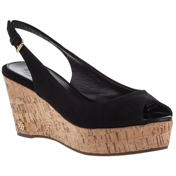 85c66bd0f7be •Tory Burch• Rosalind Wedge Sandal in Black. M 5ae2578900450f8f24861e5f